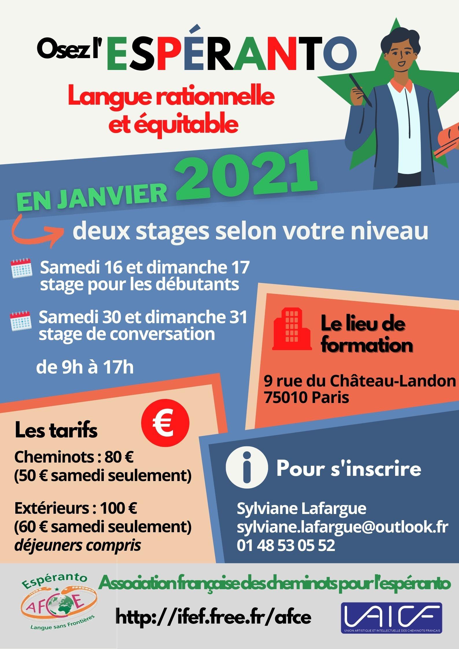 Paris, 16 et 17 janvier 2021, Stage d'espéranto pour débutants